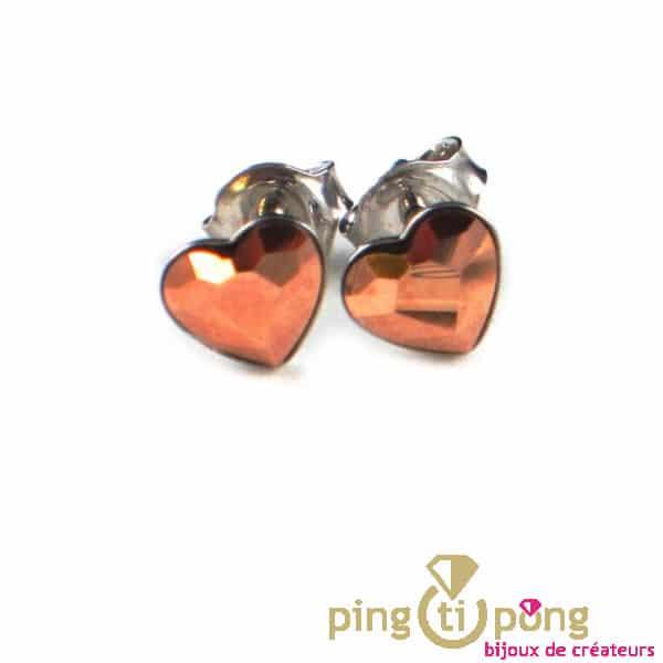 Boucles Spark coeur en argent et cristal de Swarovski
