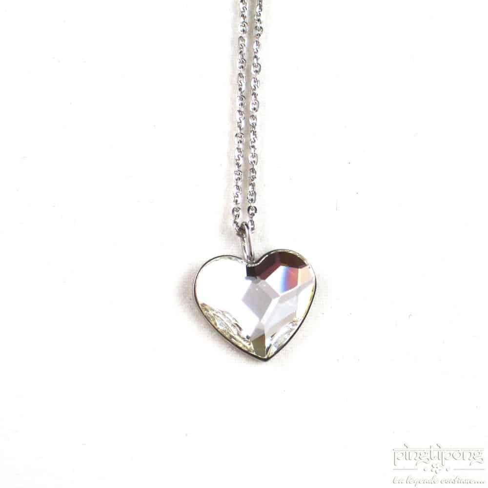 Collier Spark coeur en cristal de swarovski blanc diamant et argent massif