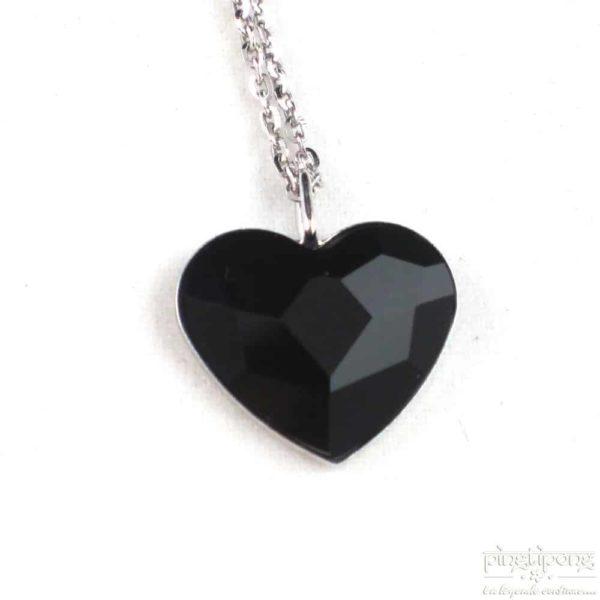 bijou spark en forme de coeur en swarovski noir jais et argent