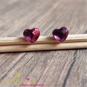 Boucles puces coeur rose foncé SPARK