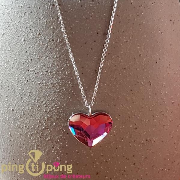 Spark pink Swarovski® crystal heart necklace