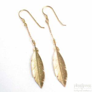 Boucles d'oreilles en forme de plume en vermeil - bijoux L'AVARE