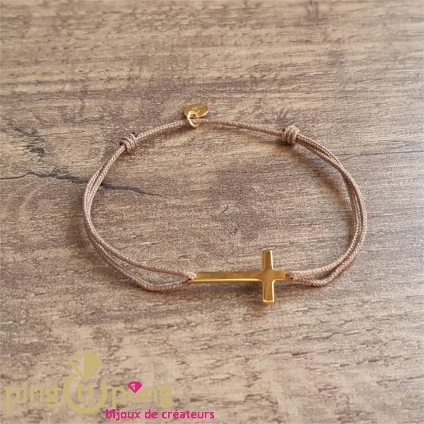Bracelet lien petite croix vermeil LAFOND