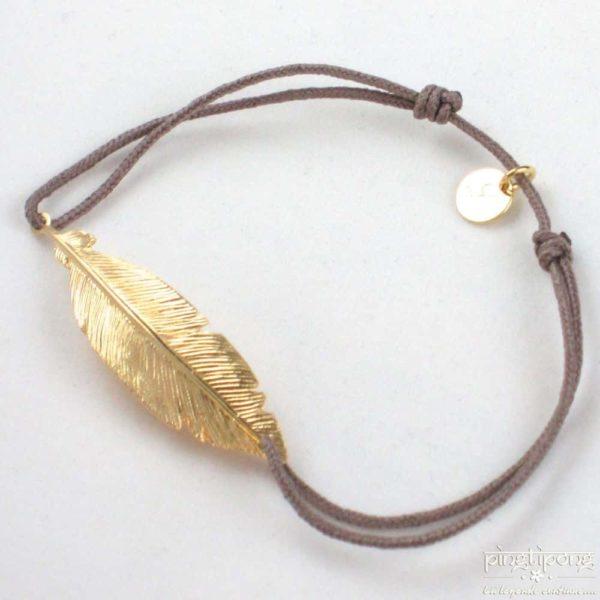 Bracelet en argent et or en forme de plume et fil de coton marron taupe - bijoux L'AVARE