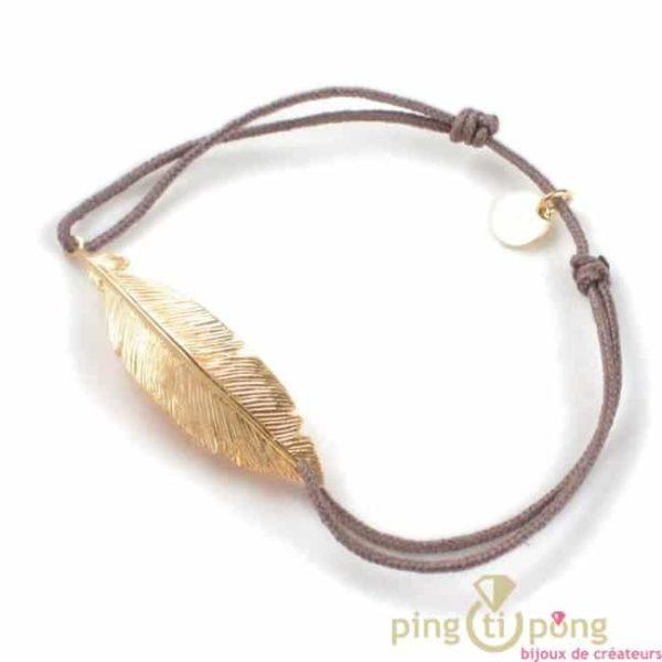 Bijoux plume : Bracelet en argent et or et fil de coton taupe - bijoux L'AVARE