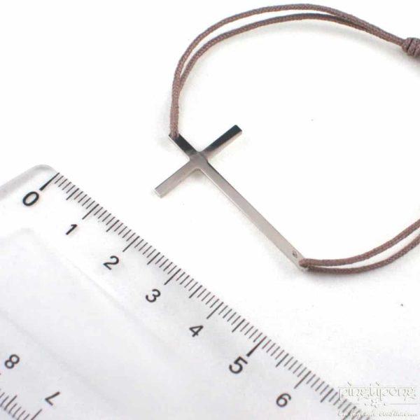 Bracelet en argent - L'AVARE bijoux - croix et fil de coton taupe