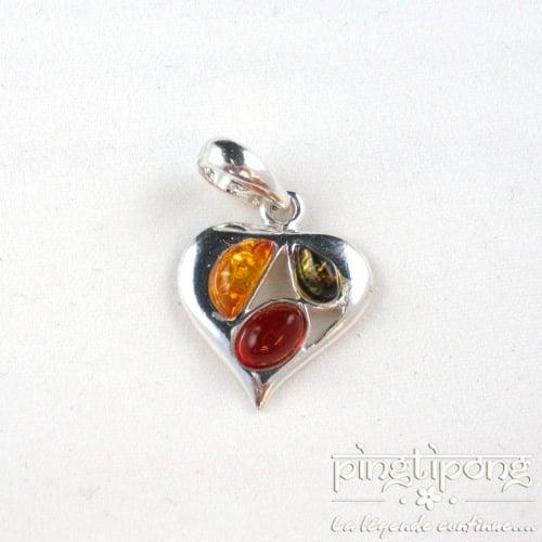 pendentif coeur en ambre jaune, ambre verte et ambre orange et argent