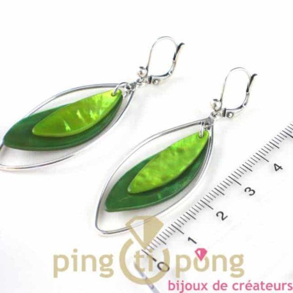 boucles d'oreilles en nacre vert bi-tons - bijoux fantaisie la petite sardine