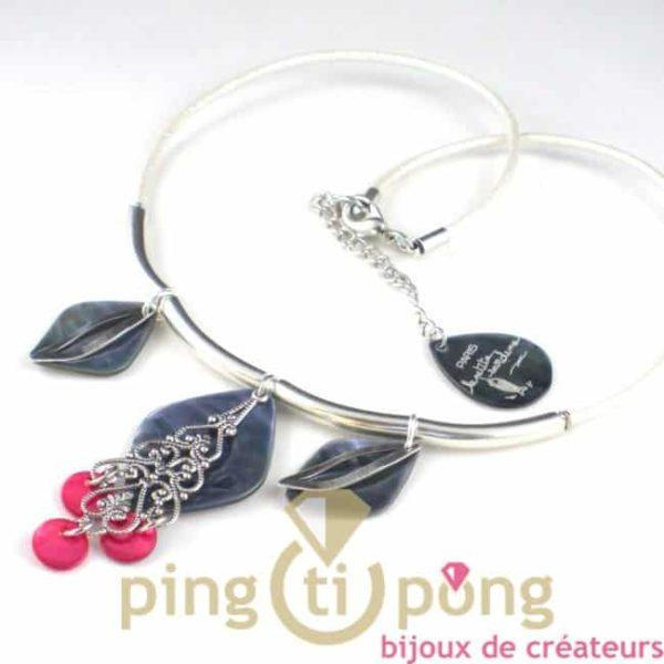 collier oriental en nacre et métal argenté de la petite sardine - bijoux fantaisie originaux