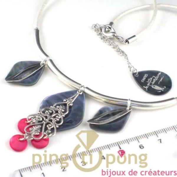 bijoux en nacre : collier oriental en nacre et métal argenté de la petite sardine - bijoux fantaisie originaux