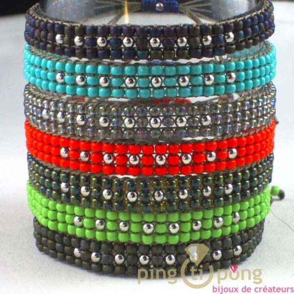 bracelet en perles de toho vert anis et argent de l'AVARE