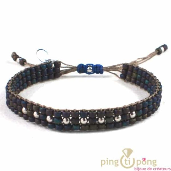 bracelet en perle de toho marron moiré bleu et argent de l'avare bijou