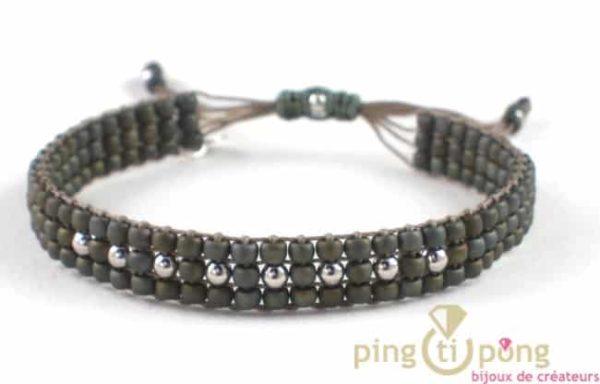 bijou L'AVARE - bracelet kaki en perles de toho et argent