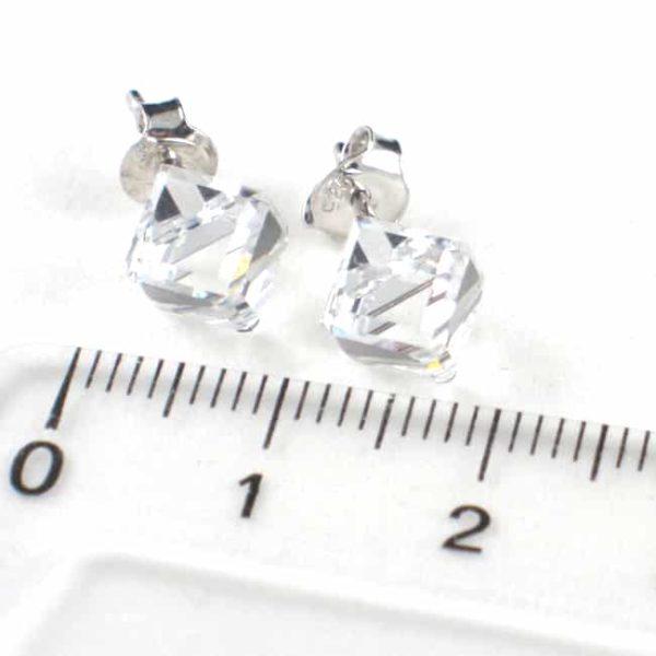bijou en Swarovski SPARK boucle d'oreilles puces en forme de cube blanc