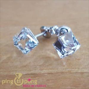Boucles cubes en argent SPARK