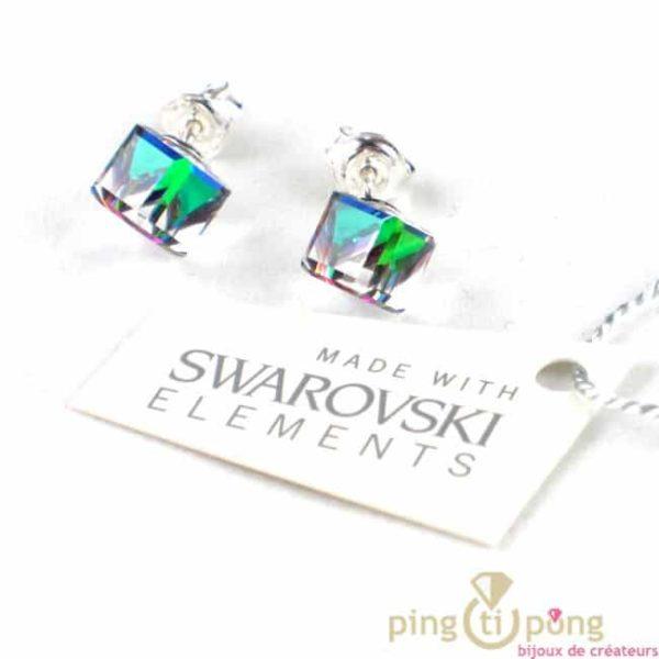 bijou SPARK boucles d'oreilles cube en cristal de swarovski blanc à reflets multicolores