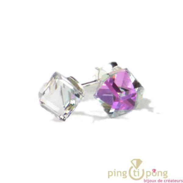 bijoux swarovski SPARK boucles d'oreilles cube en cristal de swarovski blanc à reflet violet