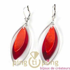 bijoux en nacre-boucles d'oreilles en nacre orange et rouge de La petite Sardine forme pétale