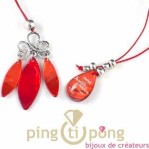 bijoux en nacre-collier en nacre orange et rouge cerise de La petite Sardine forme pétale