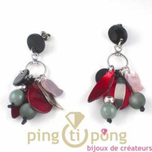 boucles d'oreilles en nacre multicolore de La petite Sardine forme corbeille de fruits
