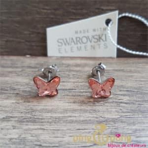 Bijoux animaux : boucles en argent et cristaux de Swarovski papillon de Spark