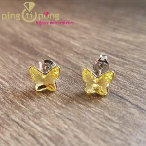 Boucles puces papillons jaunes SPARK