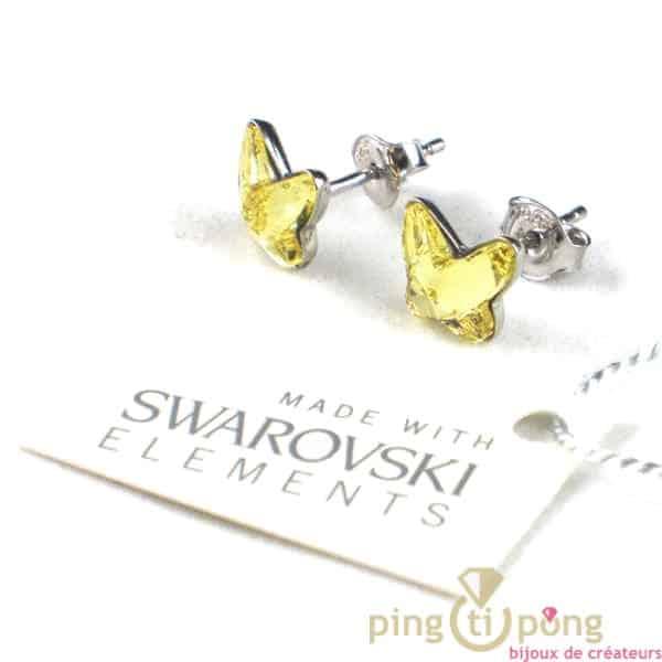 papillon swarovski jaune boucles d'oreilles Spark