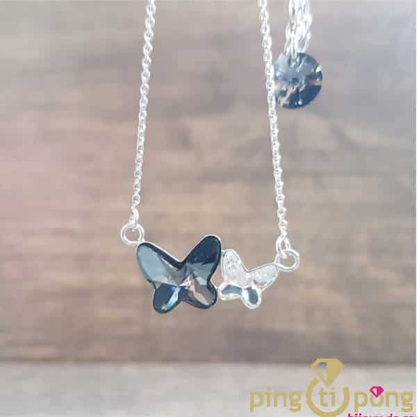 Necklace SPARK 2 butterflies made of Swarovski® crystals and 925 silver.