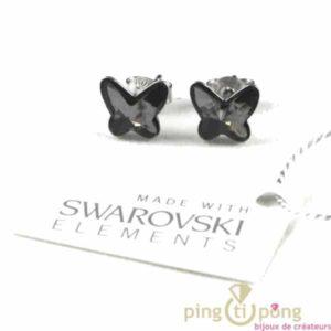 bijoux en swarovski gris papillon marque Spark