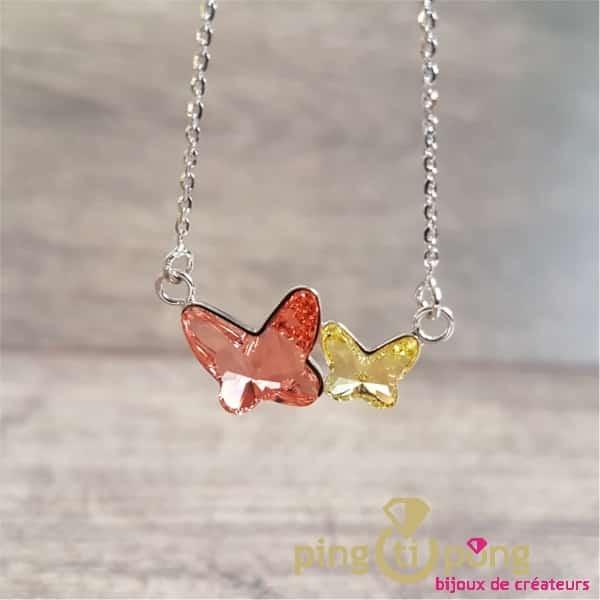 Collier papillons rose et jaune SPARK