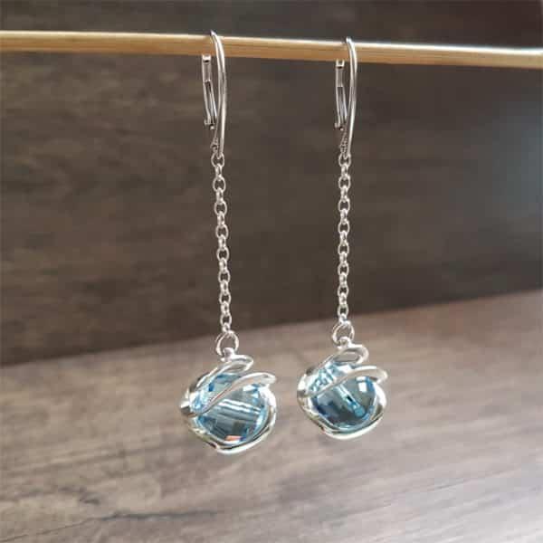 Bijoux en Swarovski : Boucles Galaxy bleu de OSTROWSKI Design en argent 925 et cristaux de Swarovski