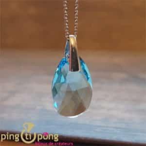 Bijou original : Collier larme en argent et cristal de Swarovski bleu de SPARK