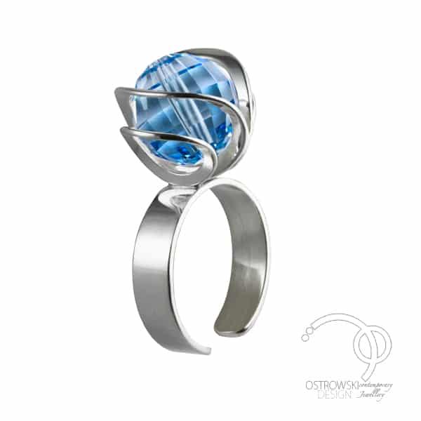 original jewelry adjustable ring in swarovski and silver from Ostrowski Design
