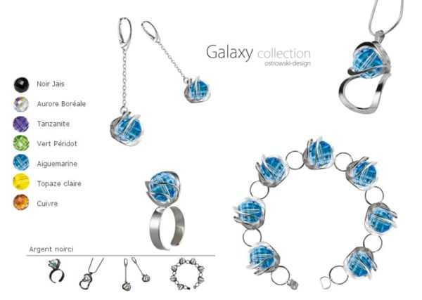 Bijoux originaux : collier en argent noirci et Swarovski Ostrowski Design