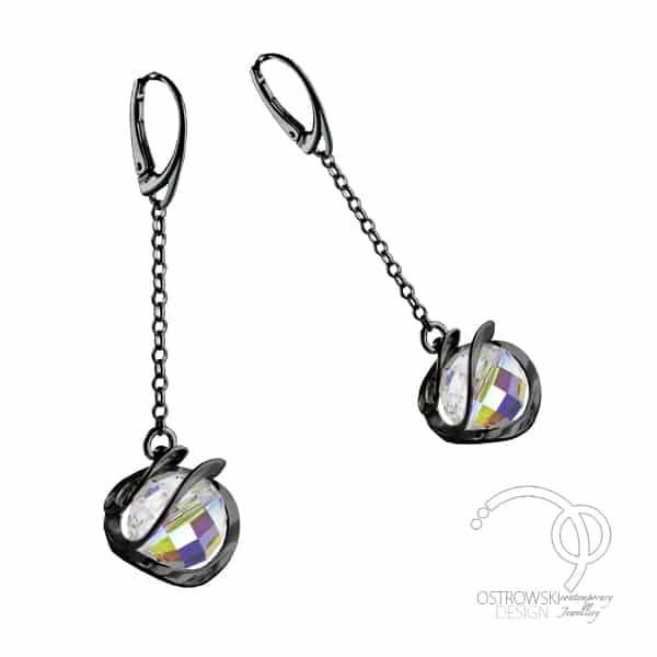 Bijoux Ostrowski Design argent plaqué noir et Swarovski Galaxie