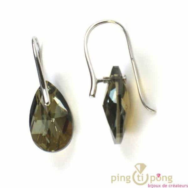 Bijoux en swarovski et argent, boucles d'oreilles SPARK forme goutte, couleur Bronze