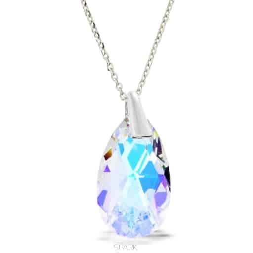 original necklace SPARK in silver and rhodium plated and white swarovski crystal boreal aurora drop shape