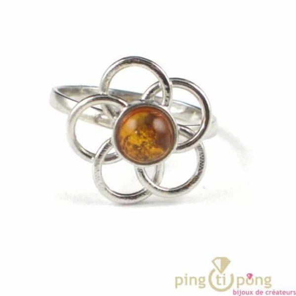 bague en ambre et argent originale de balticambre forme fleur