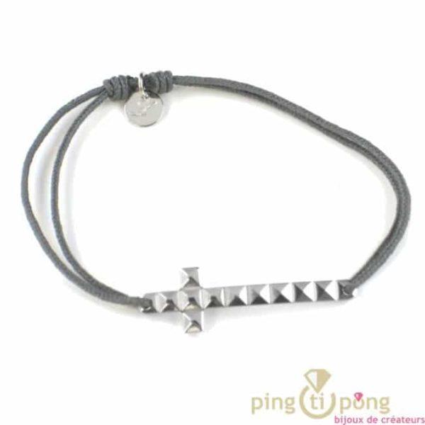 bracelet croix clou parisien - bijoux en argent