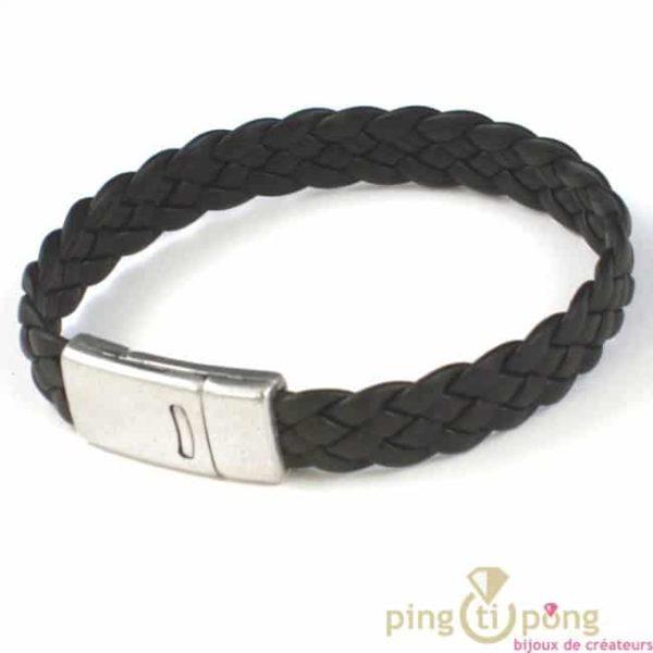 bracelet homme en cuir tressé marron fonçé