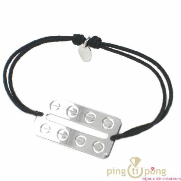 bracelet lame de rasoir et empreintes de vis de L4AVARE en argent massif et coton noir