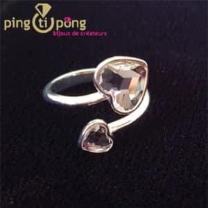 Bijou original : Bague en argent rhodié et coeur en cristal de Swarovski diamant de SPARK
