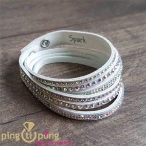 Bracelet alcantara blanc 4 rgs séparés SPARK