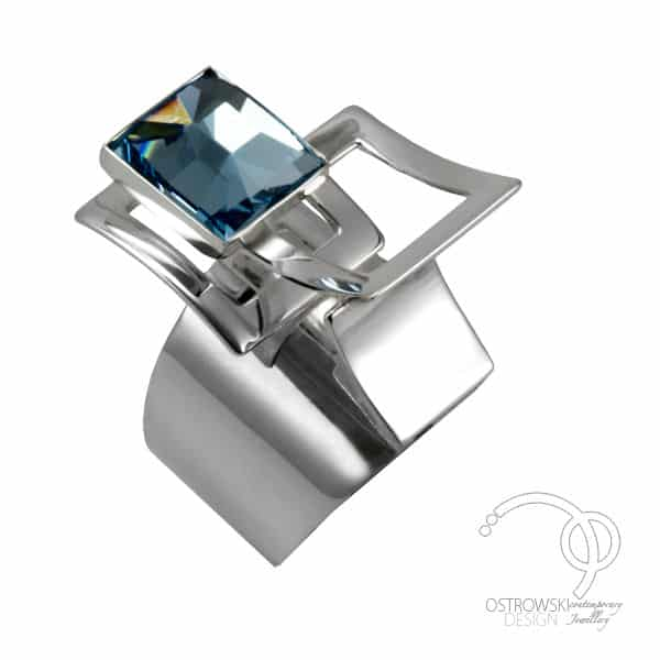 swarovski ring in aquamarine blue and silver from Ostrowski Design, Mexican Mosaïc collection