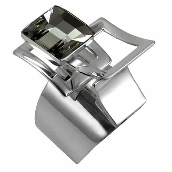 swarovski grey diamond black and silver ring by Ostrowski Design, Mexican Mosaïc collection