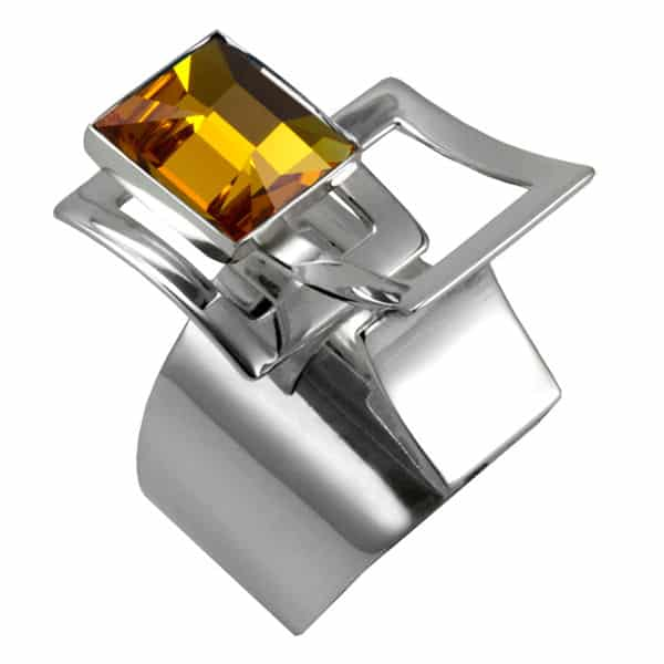 bague en swarovski jaune topaze et argent de Ostrowski Design, collection Mexican Mosaïc