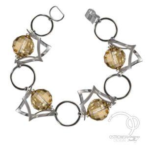 bracelet en argent et Swarovski sur le thème de l'espace de Ostrowski design