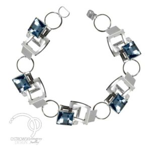 bracelet en Swarovski et argent de couleur bleu aiguemarine de ostrowski design collection mexican mosaic
