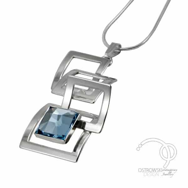 collier en Swarovski et argent de Ostrowski Design couleur bleu aiguemarine collection Mexican mosaic