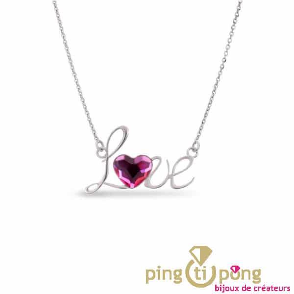 collier SPARK LOVE avec un coeur en swarovski rose Saphir